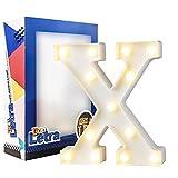 DON LETRA Letras Luminosas Decorativas con Luces LED, Letras del Alfabeto A-Z, Altura de 22cm, Color Blanco - Letra X