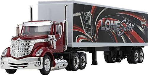Wheel Master International Lonestar Tractor Trailer Play Toy Truck Vehicle for Kids, Lonestar Design, with Functions, Pre Built Semi, Realistic Look and Openable Doors Great Gift for Children