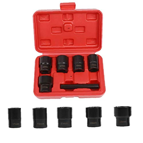 Gracy Bolt Nut Remover Extractor Impact Lug Remover Twist Socket Set 17-26mm with Center Punch Bar 6PCS,Tool Accessories