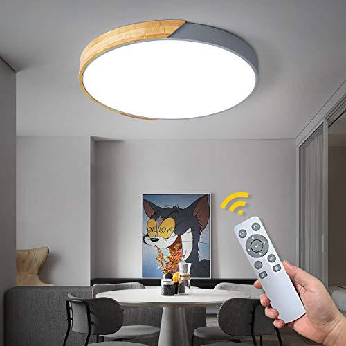 NEWSEE LED Deckenleuchte mit Fernbedienung Moderne Deckenlampe Dimmbare Wohnzimmer Kalt bis Warmwei 42W Kinderzimmer Lampe Esszimmerlampe Schlafzimmerlampe Flurlampe(Grau, 50cm,42W)