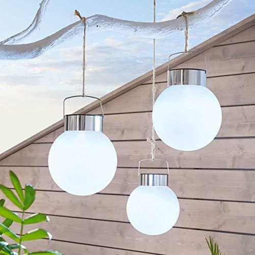 BUVTEC Solarkugel 3er Set Solarleuchten Gartenbeleuchtung zum Hängen Kunststoff Edelstahl Ø 13 cm Weiß