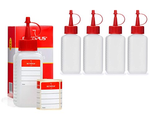 5 Octopus botellas de plástico de 100 ml, botellas de plástico de HDPE con cuentagotas o gotero rojo, p. ej. para e-líquidos / cigarrillos electrónicos, resistentes a los químicos, incluyen 5