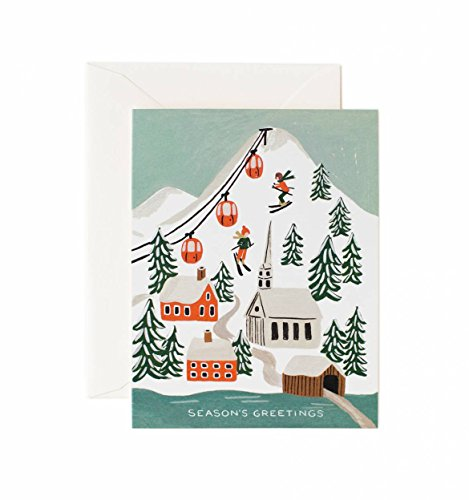Merry Christmas Ski Village Holiday Card Set by Rifle Paper Co. -- Set of 8 Cards and Envelopes