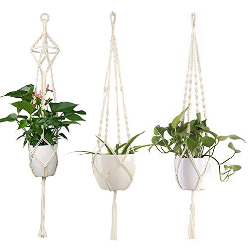 HAKACC Makramee Blumenampel, 3er Set Pflanzenhänger Baumwollseil Hängeampel Boho Blumentopf Pflanzen Halter Aufhänger für Balkone Garten Wanddekoration