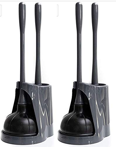 Klickpick Home Pack of 2 Plastic Toilet Bowl Brush Cleaner and Plunger Combo Set Kit with Holder Caddy for Bathroom Storage Cleaning and Organization - Covered Lid Brush - Grey