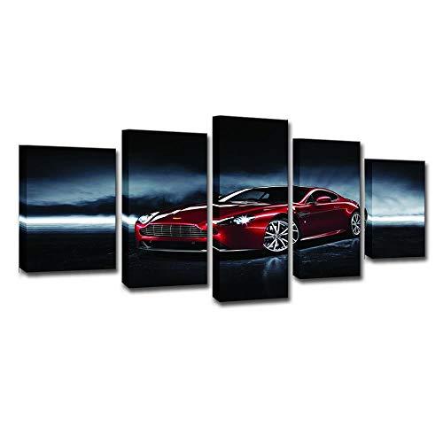 Schilderijen 5-delige set, HD-druk, wandkunst, modern schilderij, interieurdecoratie, canvas, rode sportwagen 8X14/18/22Inch Frameloos