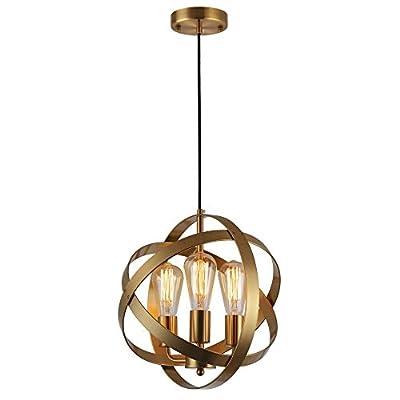 KOONTING 3-Light Industrial Spherical Pendant Light, Metal Globe Chandelier Ceiling Lamp Light Fixture for Kitchen Island Dining Room Bedroom Living Room Entryway Hallway