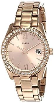 Fossil Women s Scarlette Mini Quartz Stainless Steel Three-Hand Date Watch Color  Rose Gold Glitz  Model  ES4318