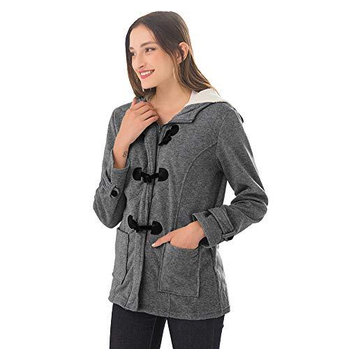 NBWS sweatshirt met capuchon, voor dames, lange mouwen, met ritssluiting, warm, voor de winter