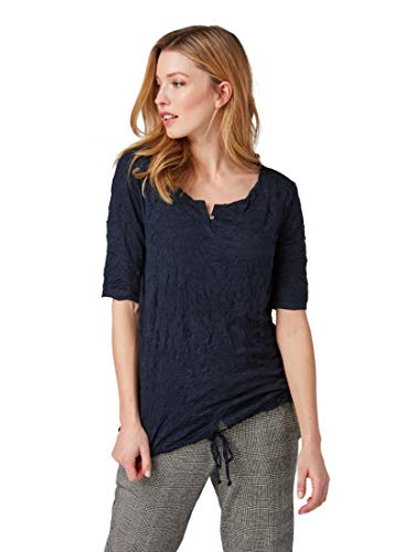 TOM TAILOR Damen T-Shirts/Tops T-Shirt in Crinkle-Optik Sky Captain Blue,L