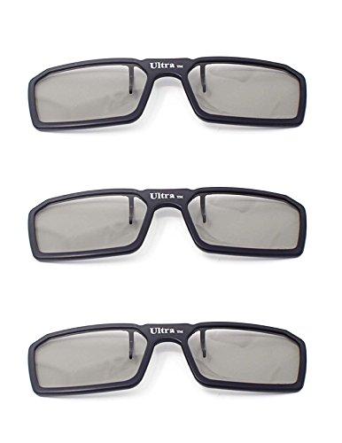 Ultra 3 Black Pairs 3D Clip On Glasses Passive 3D Glasses Men Women Compatible with RealD Cinemas 3D Glasses for TV Movie Glasses for Prescription Glass Wearers Circular Polorised Cinema 3D Glasses