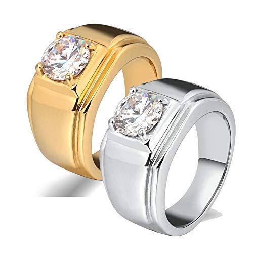 Amody 1 par Anillos de Matrimonio Anillo de Oro Plateado con Circonita Cúbica Anillos de Compromiso Pareja Mujer 20 Hombre 15