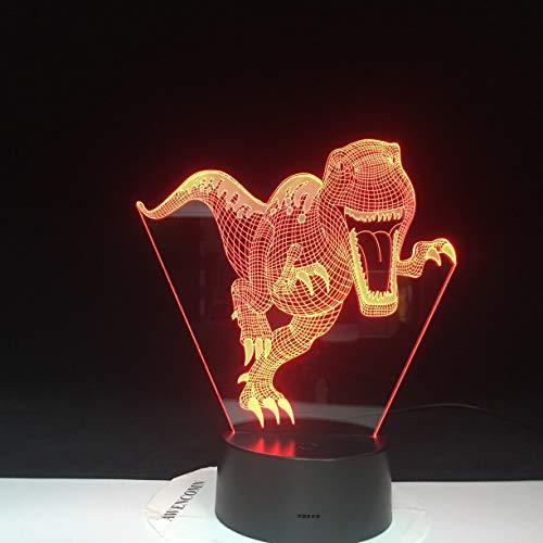 Lámpara de mesa para niños de ilusión óptica visual de dinosaurio negro estéreo multicolor lámpara de mesa LED 3D regalo para niños luz de noche   luz de noche de productos para bebés