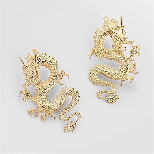 XinLuMing Pendientes de Moda creativos, Falda Punk de Oro Fire de Plata Dragón de Dragón Pendientes Throne Traje Juego Mercancía Dragón Dragón Stud Pendientes Joyería Oro (Color : Gold)