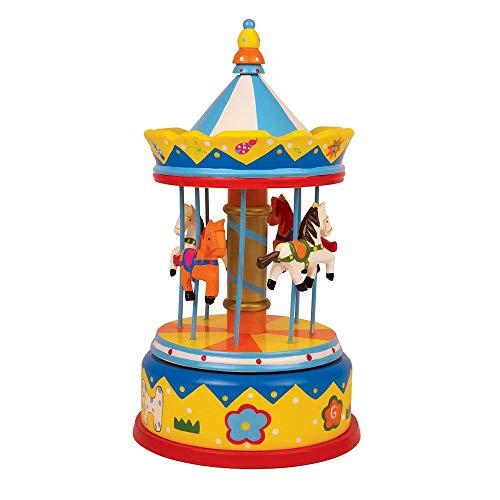 """Spieluhr """"Karussell Pferde"""" aus bunt lackiertem Holz, spielt die zauberhafte Melodie """"Camelot"""", traumhafte Dekoration für das Baby- und Kinderzimmer"""