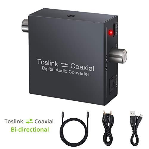LiNKFOR DAC Digital Koaxial zu Optischem SPDIF Toslink Konverter 192KHz Toslink zu Koaxial Konverter Bidirektionaler Digitaler Audio Splitter mit Optischem Kabel Unterstützt DTS Dolby AC3