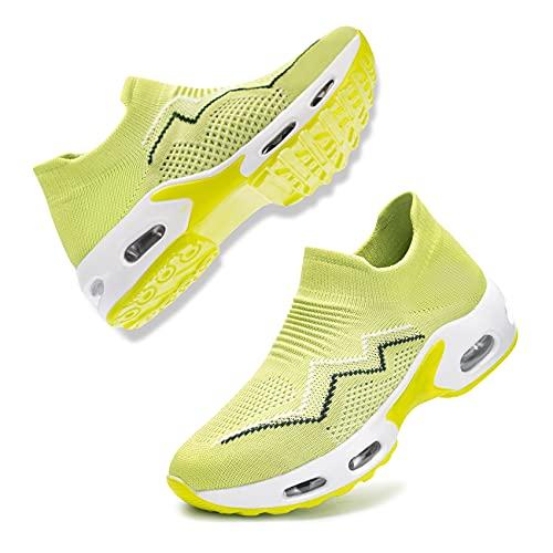 [DYKHMILY] 安全靴 レディース エアクッション 超軽量 スリッポン 作業靴 鋼先芯(JIS H級相当) 衝撃吸収 通気 あんぜん靴 耐滑 おしゃれ ダイエットシューズ 厚底 ウォーキングシューズ(23.0cm,シャープグリーン,D11829)