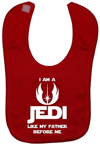 Je suis un Jedi comme Mon père avant me baby Bavoir Toucher Attaché 0 à environ 3 ans - Rouge - Taille Unique