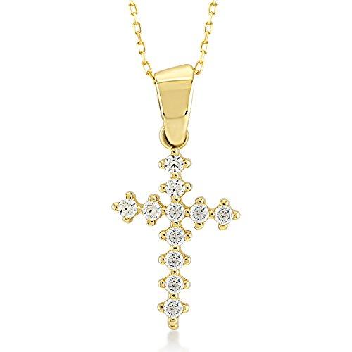 Damen Halskette 14 Karat / 585 Gelbgold Kreuz mit Steinen als Anhänger | 14k Gold Cross Necklace | Kettenlänge 45cm