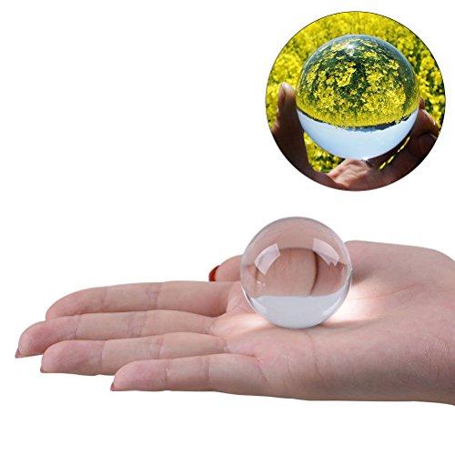 WINOMO Kristallkugel Glaskugel Klar für Feng Shui Fotografie Meditation Hochzeit Haus Büro Dekoration 5cm (Transparent Weiß)