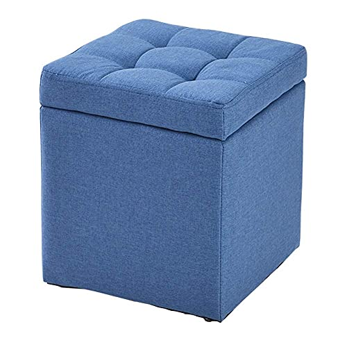 JXJ Cubo otomano de almacenamiento taburete de pie puf banco, caja de juguete, bandeja otomana organizador caja puf pecho zapato banco taburete asiento azul 30 x 30 x 35 cm