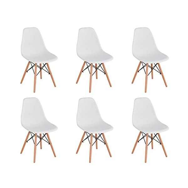 KunstDesign Set de 6 Sillas de Comedor, Diseño Ergonómico,Patas de Madera de Haya Natural (Negro)