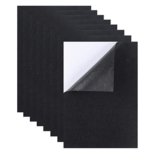 Perzodo 8 Pieces Self Adhesive Black Crafting Felt Fabric Back Sheets, 8.3 by 11.8