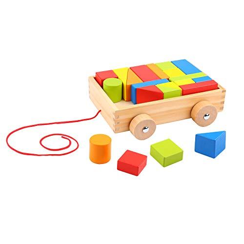 Tooky Toy Blockwagen zum Hinterherziehen mit 21 Holzblöcken in versch. Formen und Farben - Nachzieh-Spielzeug Holz Bauwagen zum Spielen und Lernen ca. 22 x 19 x 7 cm