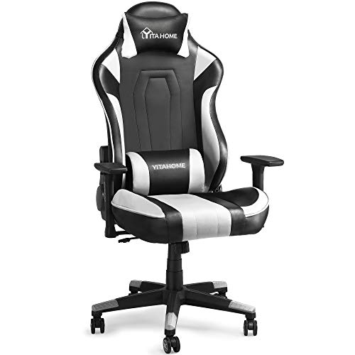 YITAHOME Massage Gaming Chair Big and Tall Heavy Duty 350lbs Ergonomic Video Game Chair High Back Office Computer Chair Racing Style with Headrest and Lumbar Support,White