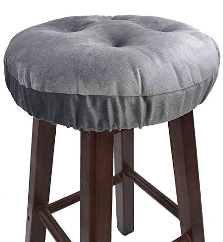 Augld Bar Stool Cushion Covers -Anti-Slip Padded Round Chiar Cushion 12' Velvet Grey