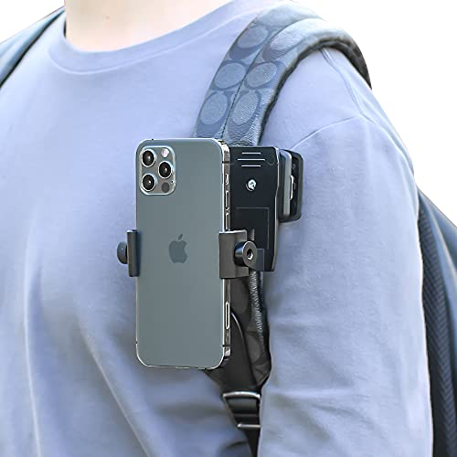 Anti-Slide Backpack Strap Clip Mount for Phone 360 Degree Rotary Backpack Clamp Mount for Video Recording