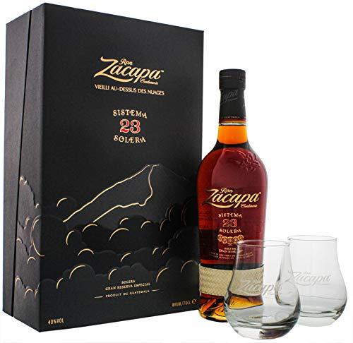 Zacapa 23 Jahre Rum, Geschenkpackung mit 2 Gläsern, Schnaps, Alkohol, Flasche, 40 %, 700 ml, 755662