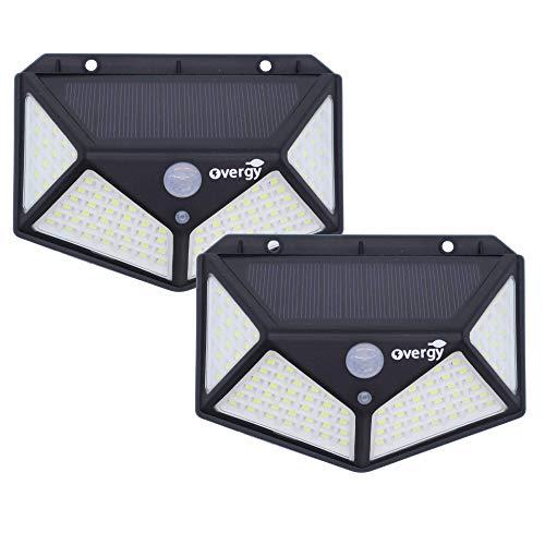 Overgy PACK 2 Luz Solar Exterior para jardín 100 LED Foco solar con sensor de movimiento, 4 lados de iluminación, impermeable grado IP65, batería 2200mAh larga duración, aplique con 3 modos de uso