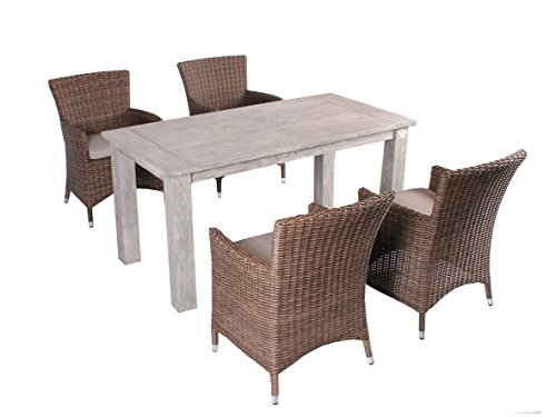 Strandgut07 5tlg. Essgruppe Sitzgruppe 160 x 80 cm Teakholz grau finish hochwertiges Polyrattan Sessel Sitzgruppe Teaktisch Gartenmöbel braun