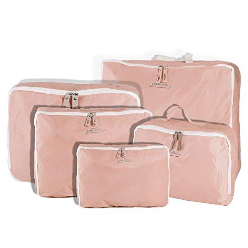 Organizzatori per trolley set da 5 pezzi travel organizer da viaggio borse valigia. MWS (ROSA)