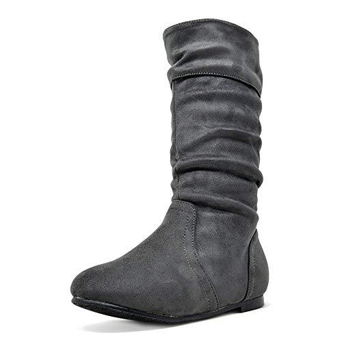 DREAM PAIRS Little Kid BLVD-K Grey Girl's Knee High Boots Size 2 M US Little Kid