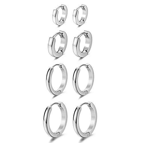 JewelryWe Schmuck 4 Paar Schmale CREOLEN, 7mm-14mm Edelstahl Glatte Ohrringe Huggie Ohr ManschetteOhrstecker mit Klapp-Verschluss für Herren Damen, Silber