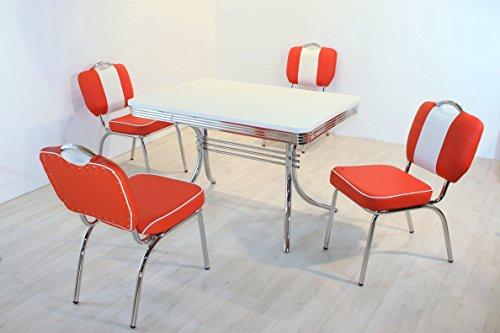 HOWE-Deko Tischgruppe Chicago, American Diner Style; Vierfuß Bistrotisch und 4 Bistrostühle; Bezug: rot/weiß; Tischplatte polarweiß