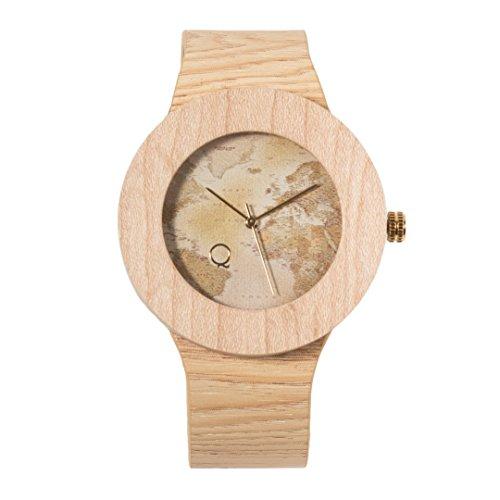 seQoya - Stone Traveller   Reloj de Madera con Esfera de Madera y Correa de Piel ecológica simulando Madera Estampada   Reloj Hombre y Mujer   Diseño único y Original