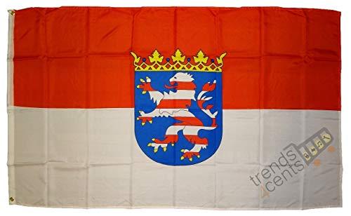 Flaggen Deutsche Bundesländer Deutschland Landesfahnen 150 x 90 cm mit zwei Metallösen zur Befestigung und zum Hissen (Hessen)