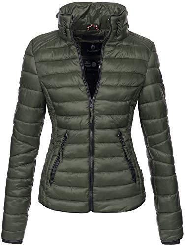 Marikoo Damen Jacke Steppjacke Übergangsjacke gesteppt mit Kordeln Frühjahr Camouflage B405 (XS, Olive)
