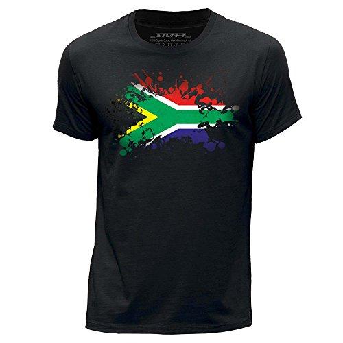 Stuff4 Hombres/Grande (L)/Negro/Cuello Redondo de la Camiseta/Sudáfrica/Africano Bandera Splat