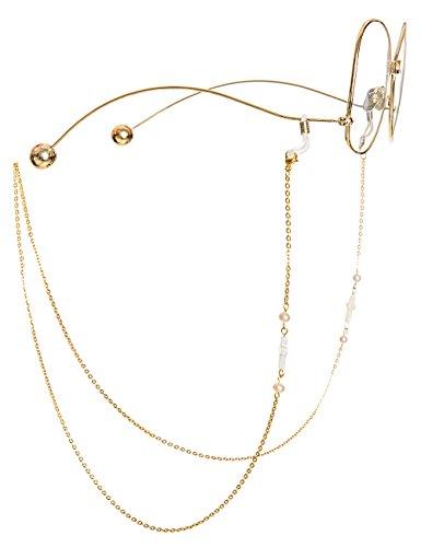 MINI TREE Brillenketten für Lesebrillen Perlen Brillenband Damen Lesebrille Brille Kette Sonnebrillen Band  Kreuz Cords Hals Cord Strap (Gold)