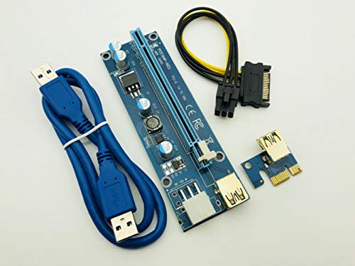 50PCS Golden VER009S Riser PCI-E PCI Express Molex 6Pin to SATA 1X 16X Riser Card Adapter USB 3.0 Cable LED for BTC Miner Mining