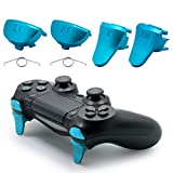 TOMSIN Replacement Triggers for PS4 Slim/ PS4 Pro Controller, Aluminum Metal L1 R1 L2 R2 Trigger Buttons for PS4 Controller Gen 2 (Blue)