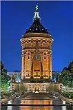 Poster 40 x 60 cm: Beleuchteter Wasserturm Mannheim von