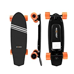EnSkate Stylish Design Long Skateboard - Combined with the design of regular skateboard, Electric Skateboard comes with orange color and black. The whole board with uniform color and line design express the liveliness and passion of a skateboarding l...