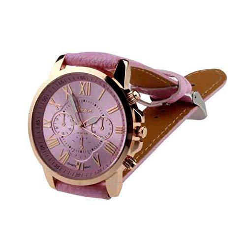 WDQTDY vrouwen Horloge Mode Merk Genève Romeinse cijfers Faux Lederen Analoge Quartz Dames Jurk Polshorloge Klok montre Femme als De foto laat zien