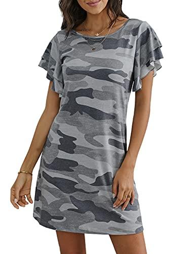 GOSOPIN Women Camo Ruffled Short Sleeve T Shirt Casual Mini Sundress Large Gray