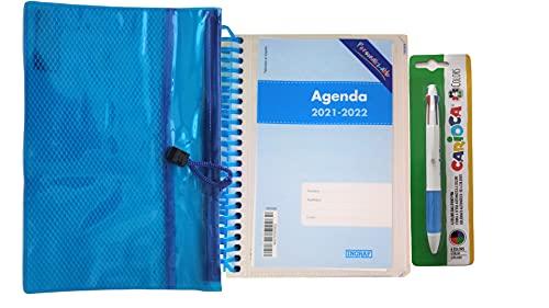 Agenda personalizable día página A6 incluye estuche y bolígrafo 4 colores (Azul)